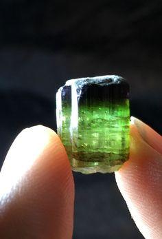 Fine Green Purple Cap Elbaite Tourmaline Specimen. 3 Grams.