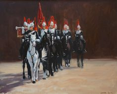 Painting of the Queen's Guard's in London on parade.  Oil on canvas. Artist:  Charlotte Partridge