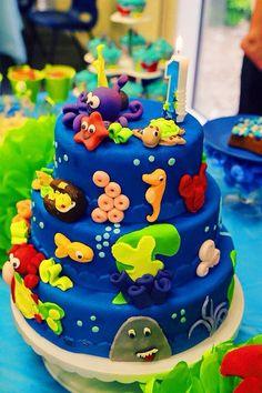Festa, fundo do mar, bolo, bolo de menino, party, under the sea, sea creatures, cake