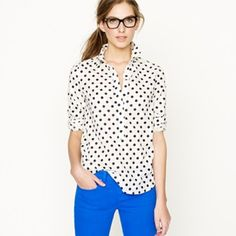 FINAL PRICE J Crew Polka Dot Popover Blogger favorite! Popover style with black dots and light white dots! So cute! Perfect for layering or with a great statement necklace! J. Crew Tops Button Down Shirts