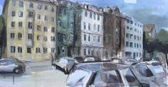 Wolfgang Müller-Jakob - Jour Fix 130 Malerei aus der Straße - Die Georgenstraße als Motiv -  Geöffnet am 15. und 16. November von 15 bis 18 Uhr und bis zum 12. Dezember wochentags von 14 bis 18 Uhr bei 84 GHz in der Georgenstraße 84.