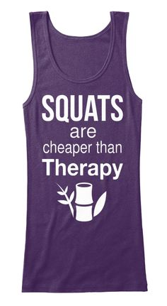 Squats Are Cheaper Than Therapy Purple Women's Tank Top Front