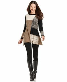 Style&co. Petite Sweater, Long-Sleeve Patchwork Tunic