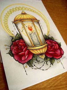 lantern with some roses around.