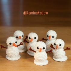 Crochet Amigurumi Ideas kamina-kapow More - Looking for a crochet snowman pattern? Here are 10 free crochet snowmen patterns that will fit the bill - from hats to ornaments to baby items. Knit Or Crochet, Cute Crochet, Crochet Crafts, Yarn Crafts, Crochet Projects, Crotchet, Crochet Snowman, Crochet Ornaments, Crochet Snowflakes