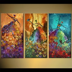 These abstracted ballet dancers satisfy my need for colour. Original paintings by Osnat.