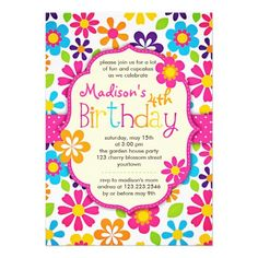 Modern Floral Colorful Spring Cute Birthday Party Custom Announcement