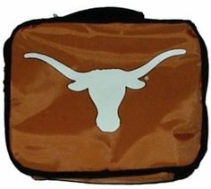 "Texas Longhorns Insulated Lunch Bag Tote by Concept 1. Save 27 Off!. $10.95. Texas Longhorns Insulated Lunch Bag Tote. Texas Longhorns deluxe vinyl lunch box with full zipper handle. Texas Longhorns logo on front. Velcro divider inside. Expands to 10"" x 5"" x 8"". Officially licensed by NCAA. Made by Concept One."