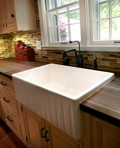 Apron Front Sink Walnut Butcherblock Gla Design Ideas, Pictures, Remodel, and Decor