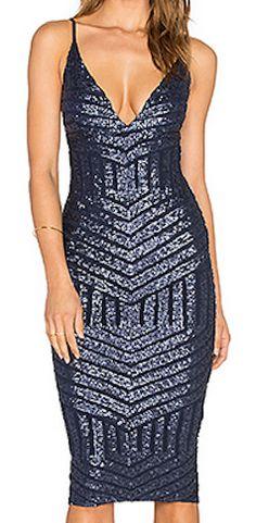 blue glitter cocktail dress
