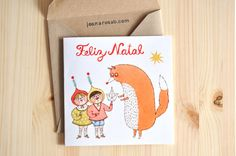 1 Christmas greeting card  + 1 envelope // MERRY CHRISTMAS // The Fox and the Paper Boat by Joana Rosa Bragança