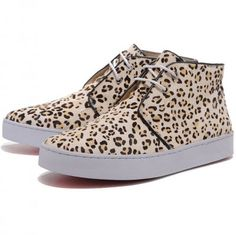 Christian Louboutin Leopard Canvas High Top Sneakers Nude