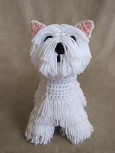 Westie PDF Crochet Pattern by ScareCrowOriginals on Etsy Crochet Crafts, Crochet Dolls, Crochet Projects, Knit Crochet, Crocheted Toys, Amigurumi Patterns, Knitting Patterns, Crochet Patterns, Single Crochet Decrease