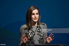 Queen Letizia of Spain attends the closing of the 'Women and Disability. We Crossed Borders' International Congress at the Lienzo Norte Exhibition and Congress Center on March 1, 2017 in Avila, Spain.  (Photo by Carlos Alvarez/Getty Images)