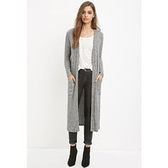 Forever 21 Heathered Maxi Cardigan (£15) ❤ liked on Polyvore featuring tops, cardigans, lightweight open front cardigan, white open front cardigan, maxi cardigan, forever 21 and white cardigan