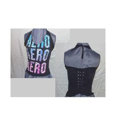 Halter Top Corset Top Aeropostle Upcycled T Shirt Aero Recycled... ($17) ❤ liked on Polyvore featuring tops, black, halter tops, women's clothing, halterneck top, bone corset, black halter top, tie halter top i halter neck top