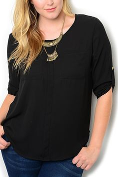 http://www.dhstyles.com/Black-Plus-Size-Dressy-Rolled-Cuff-Sheer-Chiffon-T-p/zeno-4421x-black.htm