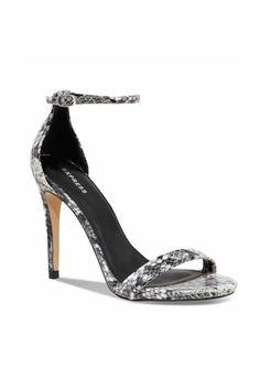 Express Snakeskin Print Heeled Runway Sandals, $47.94, available at Express.
