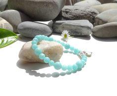 Bracelet en perles de jade bleu,bijou lumineux de style bohème et romantique,coeur,argent plaqué : Bracelet par lapassiondisabelle