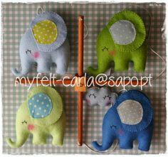 Mobile de berço com elefantes em feltro e tecido!