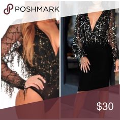 🎉🎉Flowing Sequins  bodysuit Material : 95%Polyester  5%Spandex flowing gold sequins lined at bust and sheer back, long sheer sleeves. Thong bottom with snap-button Pants Jumpsuits & Rompers