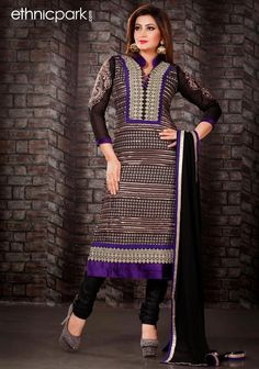 Black and Brown Faux Georgette Salwar Suit #Ethnicpark