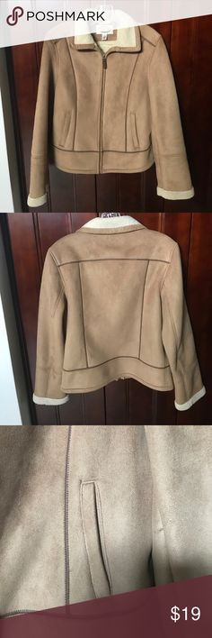 """Talbots Faux Suede Jacket Faux Sherpa PRICE DROP🌸 Talbots Faux Suede Jacket with Faux Sherpa Lining  Size: Small and fitted  Brown and 100% Polyester  Dimensions  18"""" from shoulder to shoulder  23"""" across the bust/chest  22"""" across the waist  25"""" across the hips  23"""" down sleeve  26"""" coat length  Front zipper closure  2 side slash pockets that still are tacked close from the store Talbots Jackets & Coats"""