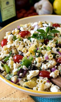 This Mediterranean Pasta Salad makes the perfect side dish for any meal. Serve it up at your next backyard party.