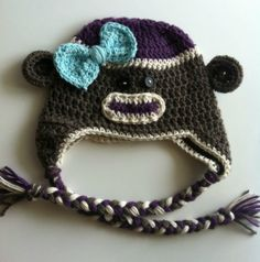 Little Girl Crochet Sock Monkey Hat