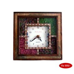 Antique Handcrafted Gemstone Wooden Wall Clock