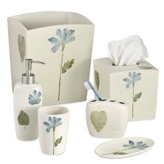 A floral and leaf motif in subtle shades of blue and green adds a simple, sophisticated touch to your bathroom. Coordinate with the Spa Leaf bath towels, bath rug and shower curtain for a finished look. Bathroom Accessories Sets, Bathroom Sets, Master Bathroom, Upstairs Bathrooms, Luxury Bath, Green Accents, Blue Bedroom, Bedding Shop, Bath Design