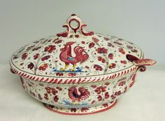 P V Italy Red Rooster soup tureen & ladle Deruta Italy 1970's