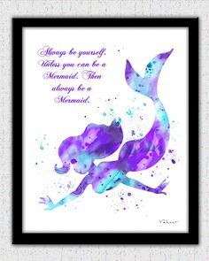 Aqua Lavender Mermaid art print with a quote by FluidDiamondArt