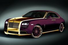 "The Italian car specialist Fenice Milano presents a unique version of the Rolls Royce Ghost, the 'smallest' model of the luxury brand.  Intended for an anonymous client, not out of my mind that it is Arab, the ""Paris Purple"" is painted in purple and Italians placed golden grille, hood, spoilers, rims, handles and decorations around the windows with 24 carat gold. Yes gold! Also the interio"