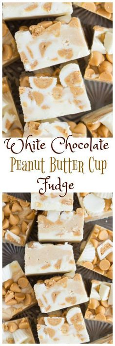 Ready in minutes, this white chocolate fudge is loaded with peanut butter cups, peanut butter chips, and what else – peanut butter! This White Chocolate Peanut Butter Cup Fudge is as easy and decadent as it gets!