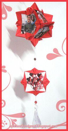 O Kusudama Dance of Star é usado como porta retrato com espaço para colocar 6 fotos! Você pode usá-lo na mesa ou pendurado. É uma ótima opç...