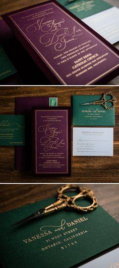 Jewel Toned Velvet Wedding Invitation by Penn & Paperie. Unique invitation with velvet fabric. Modern invitation design with jewel colors. Plum & Emerald Wedding.
