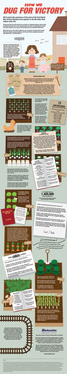 Neat Victory Garden infographic for WW1 and WW2. Focus is on the efforts in the UK but provides interesting information on victory gardens and rationing. People pulled together to help the group rather than the individual.