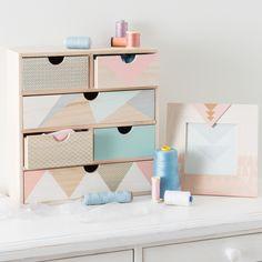 Boîte 6 tiroirs en bois H 34 cm ANJA | Maisons du Monde