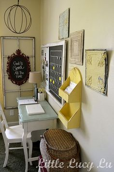 Love the window pane and the homemade calendar.... Love this for an office!!!