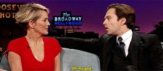 Seb freaking out when his teenage crush asks him to bite her. I am going to have to find the original James Corden interview, looks hysterical.