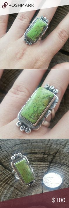 Vintage Turquoise Ring Vintage large green turquoise ring. Stamped with Makers Mark Daniel Mike above Sterling on back. Jewelry Rings