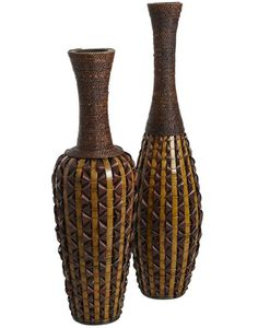 Pier 1 Hand-Woven Bamboo Vases bring the familiar and exotic together