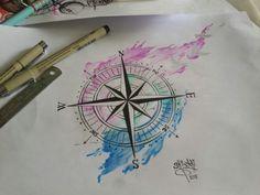 Compass ,Water colour stlye,Pencil cour