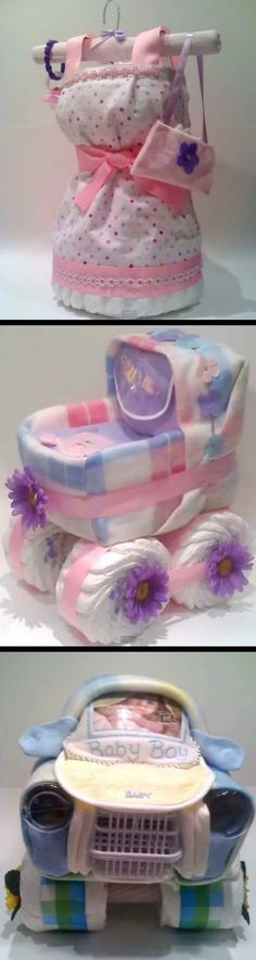 Very cute diaper centerpiece ideas. Note: this is not a link for the tutorials, just a video that shows some cute, out-of-the-ordinary diaper cake ideas (you can also order the diaper cakes shown or figure out how to make them based on the pictures).
