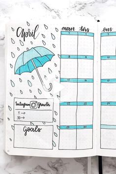 Setting up your bujo theme and need some color scheme ideas? Check out these super cute blue bullet journal spreads for inspriation to make yours perfect! #bulletjournal Birthday Bullet Journal, April Bullet Journal, Bullet Journal Notebook, Bullet Journal Inspo, Bullet Journal Layout, Bullet Journal Ideas Pages, Book Journal, Bullet Journal Spreads, Bullet Journal Monthly Spread