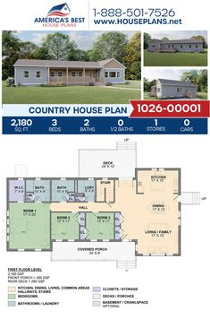 Plan 1026-00001 features an exclusive Country home design with 2,180 sq. ft., 3 bedrooms, 2 bathrooms, a kitchen island, an open floor plan, and a basement foundation. #countryhome #onestoryhome #architecture #houseplans #housedesign #homedesign #homedesigns #architecturalplans #newconstruction #floorplans #dreamhome #dreamhouseplans #abhouseplans #besthouseplans #newhome #newhouse #homesweethome #buildingahome #buildahome #residentialplans #residentialhome Country House Design, Country House Plans, Best House Plans, Dream House Plans, Floor Plan Drawing, Electrical Layout, Dormer Windows, Construction Cost, One Story Homes