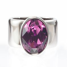 $49.00 Nolita Ring, Amethyst - Touchstone Crystal   Fancy oval Amethyst Swarovski ELEMENT with palladium plating. Wide band rings tend to run smaller in size than typical rings.  Shop https://www.mytouchstonecrystal.com/pws/lori/tabs/shop-jewelry.aspx