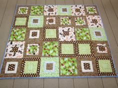 Mod Puppy Dog Flannel Baby/Toddler Quilt by by CarolynJungQuilts