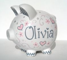"Baby Pink and Gray Elegant Hearts - Personalized Piggy Bank Ceramic - Custom Hand-painted - Large Size: 8"" x 7.5"" x 7"" - Fast Shipping on Etsy, $29.00"